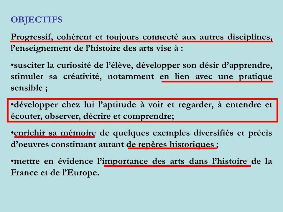 OBJECTIFS Progressif, cohérent et toujours connecté aux autres disciplines, lenseignement de lhistoire des arts vise à : susciter la curiosité de lélè