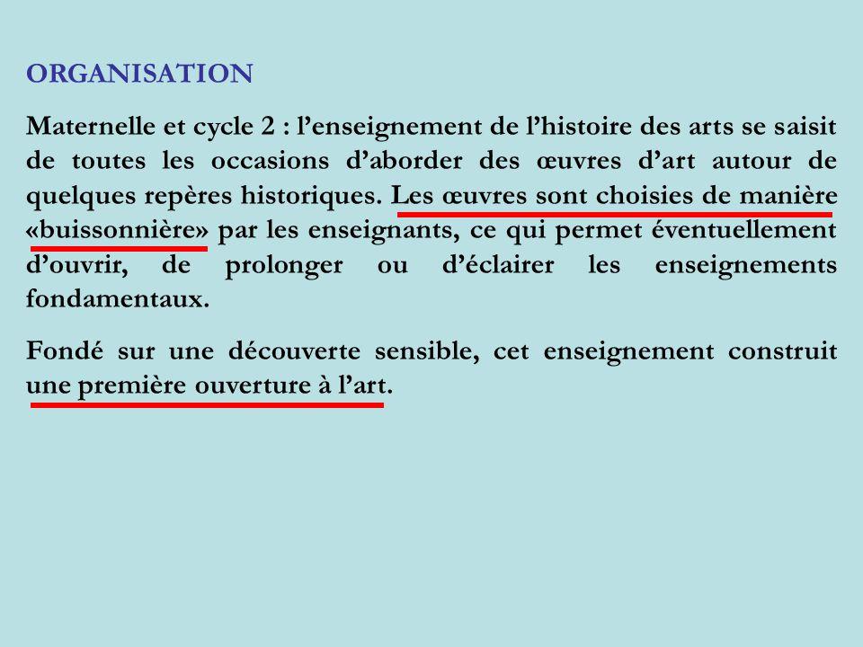ORGANISATION Maternelle et cycle 2 : lenseignement de lhistoire des arts se saisit de toutes les occasions daborder des œuvres dart autour de quelques