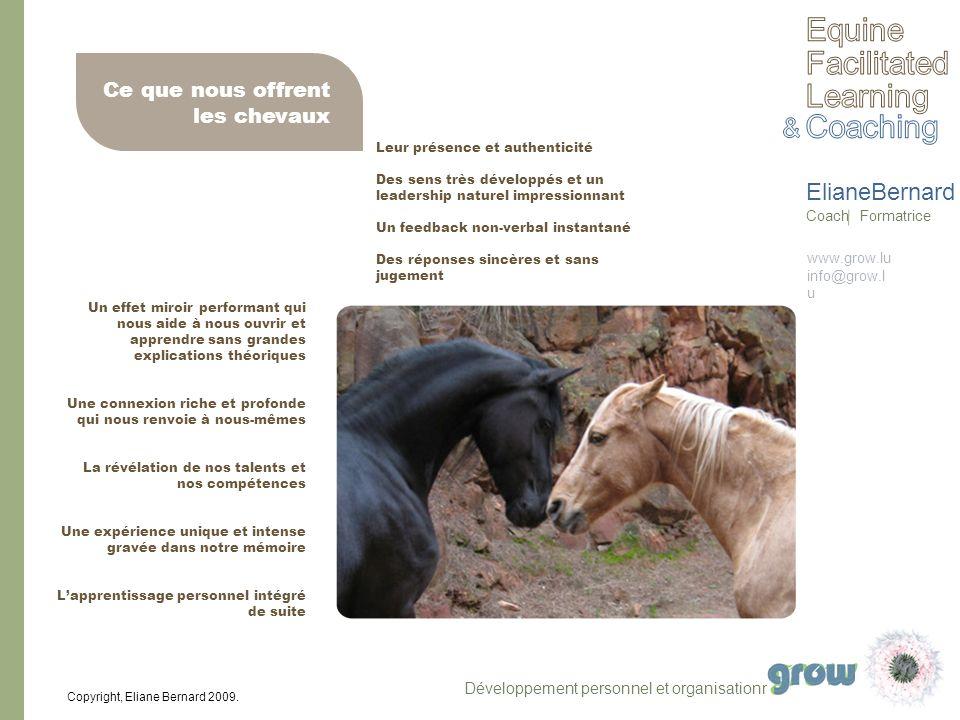 www.grow.lu info@grow.l u ElianeBernard Coach Formatrice Copyright, Eliane Bernard 2009. Un effet miroir performant qui nous aide à nous ouvrir et app