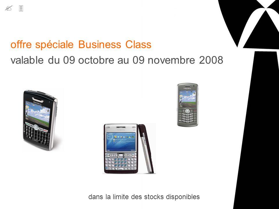 offre spéciale Business Class valable du 09 octobre au 09 novembre 2008 dans la limite des stocks disponibles