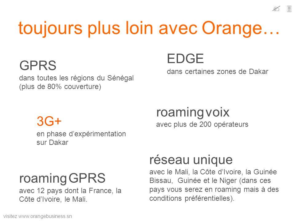 visitez www.orangebusiness.sn toujours plus loin avec Orange… GPRS dans toutes les régions du Sénégal (plus de 80% couverture) EDGE dans certaines zon