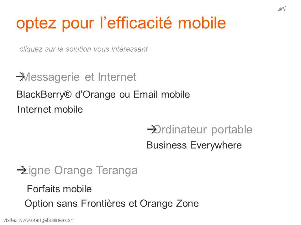 visitez www.orangebusiness.sn optez pour lefficacité mobile Messagerie et Internet Ordinateur portable Ligne Orange Teranga Internet mobile BlackBerry