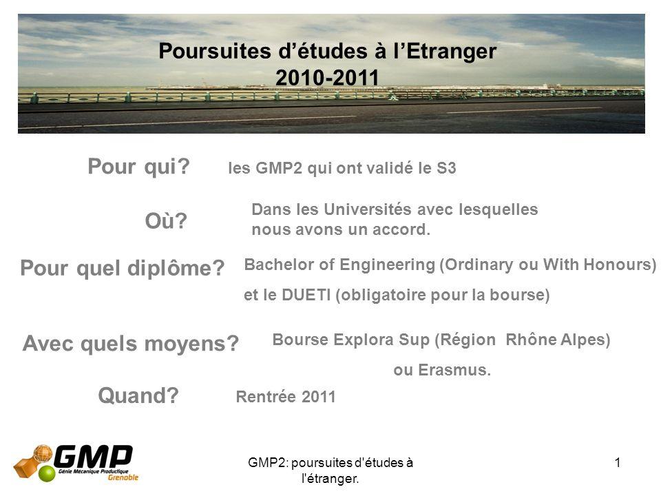 GMP2: poursuites d'études à l'étranger. 1 Poursuites détudes à lEtranger 2010-2011 Pour qui? Où? Avec quels moyens? Quand? les GMP2 qui ont validé le