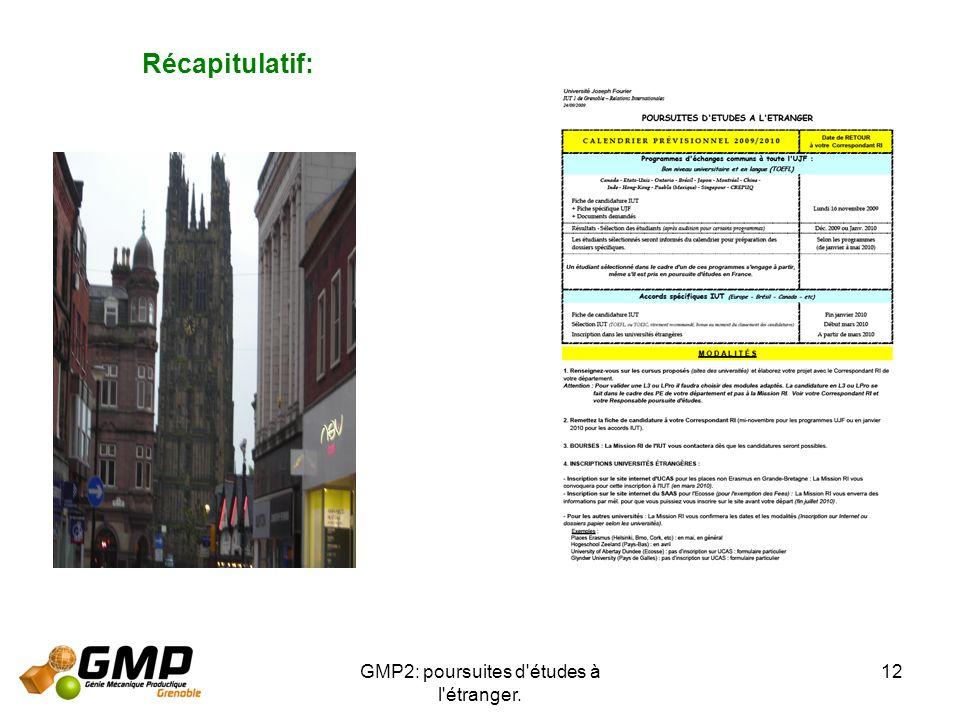 GMP2: poursuites d'études à l'étranger. 12 Récapitulatif: