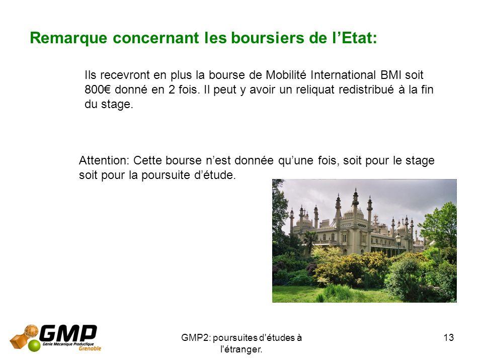 GMP2: poursuites d'études à l'étranger. 13 Remarque concernant les boursiers de lEtat: Ils recevront en plus la bourse de Mobilité International BMI s