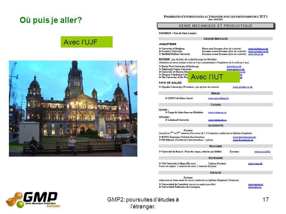 GMP2: poursuites d'études à l'étranger. 17 Où puis je aller? Avec lUJF Avec lIUT