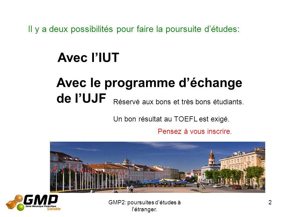 GMP2: poursuites d'études à l'étranger. 2 Il y a deux possibilités pour faire la poursuite détudes: Avec lIUT Avec le programme déchange de lUJF Réser