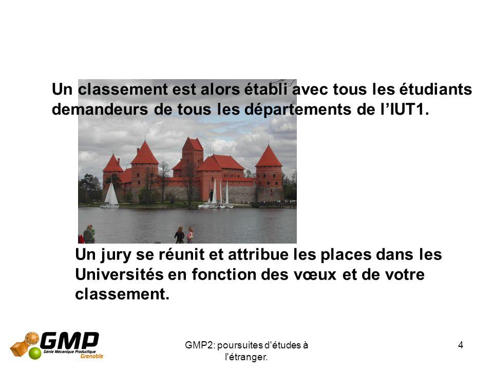 GMP2: poursuites d'études à l'étranger. 4 Un classement est alors établi avec tous les étudiants demandeurs de tous les départements de lIUT1. Un jury