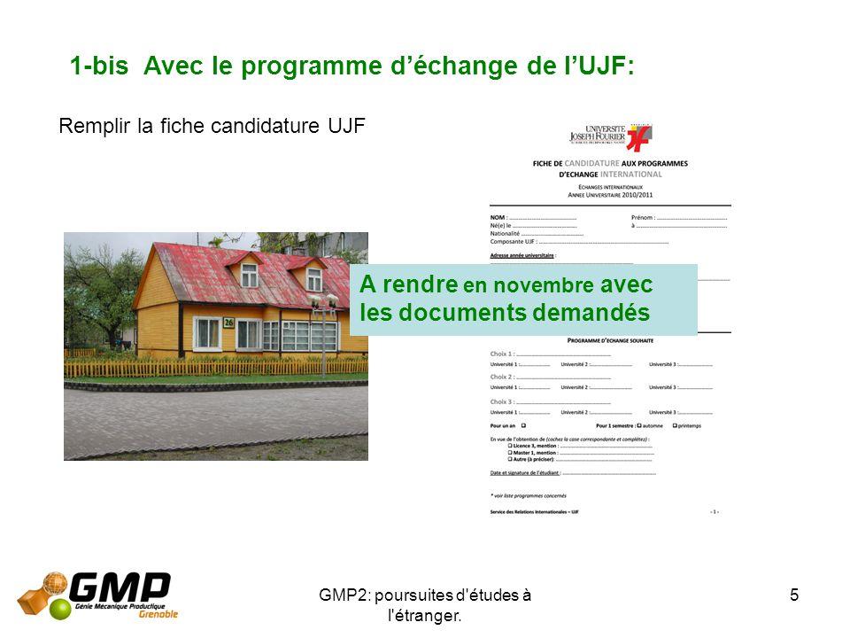 GMP2: poursuites d'études à l'étranger. 5 1-bis Avec le programme déchange de lUJF: Remplir la fiche candidature UJF A rendre en novembre avec les doc