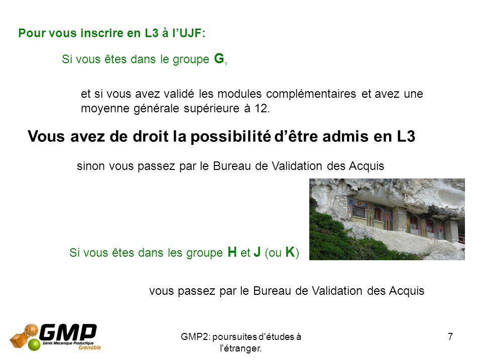 GMP2: poursuites d'études à l'étranger. 7 Pour vous inscrire en L3 à lUJF: Si vous êtes dans le groupe G, et si vous avez validé les modules complémen