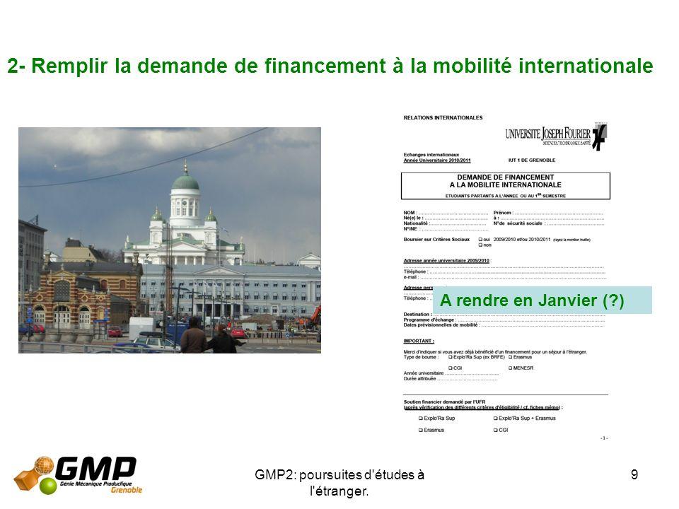 GMP2: poursuites d'études à l'étranger. 9 2- Remplir la demande de financement à la mobilité internationale A rendre en Janvier (?)