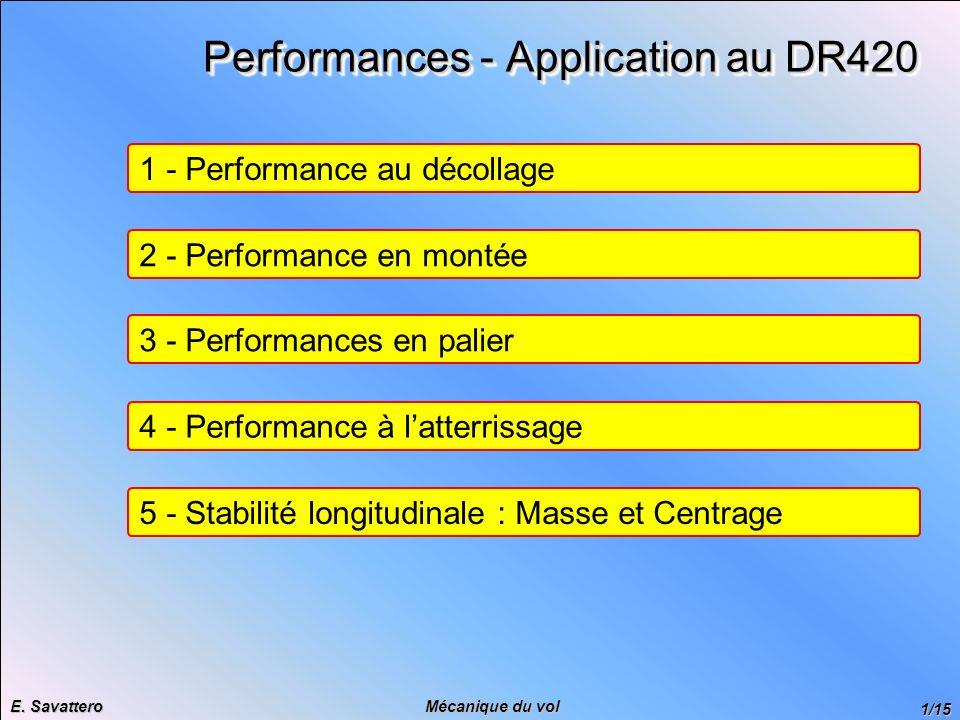 1/15 Mécanique du vol E. Savattero Performances - Application au DR420 1 - Performance au décollage 2 - Performance en montée 3 - Performances en pali