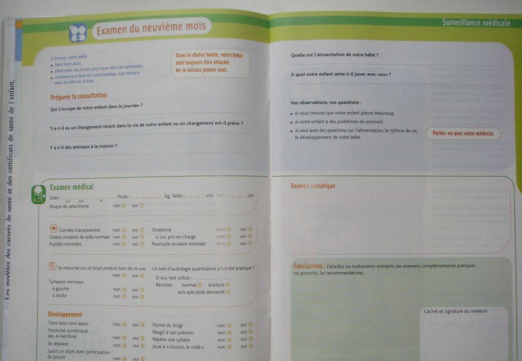 Carnet de santé de 9 mois Carnet de santé de 9 mois