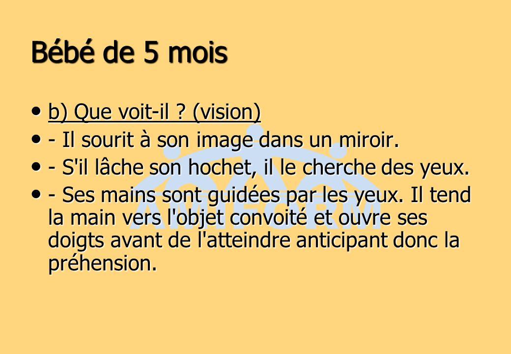 Bébé de 5 mois b) Que voit-il ? (vision) b) Que voit-il ? (vision) - Il sourit à son image dans un miroir. - Il sourit à son image dans un miroir. - S