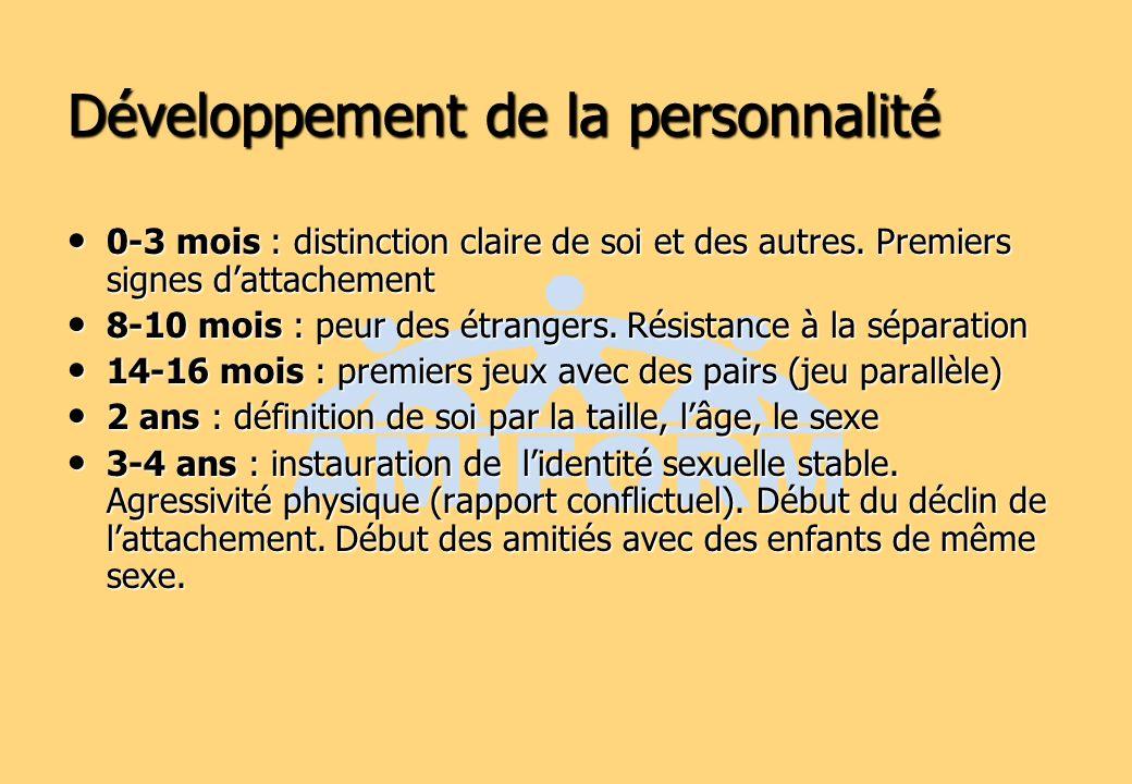 Développement de la personnalité 0-3 mois : distinction claire de soi et des autres. Premiers signes dattachement 0-3 mois : distinction claire de soi