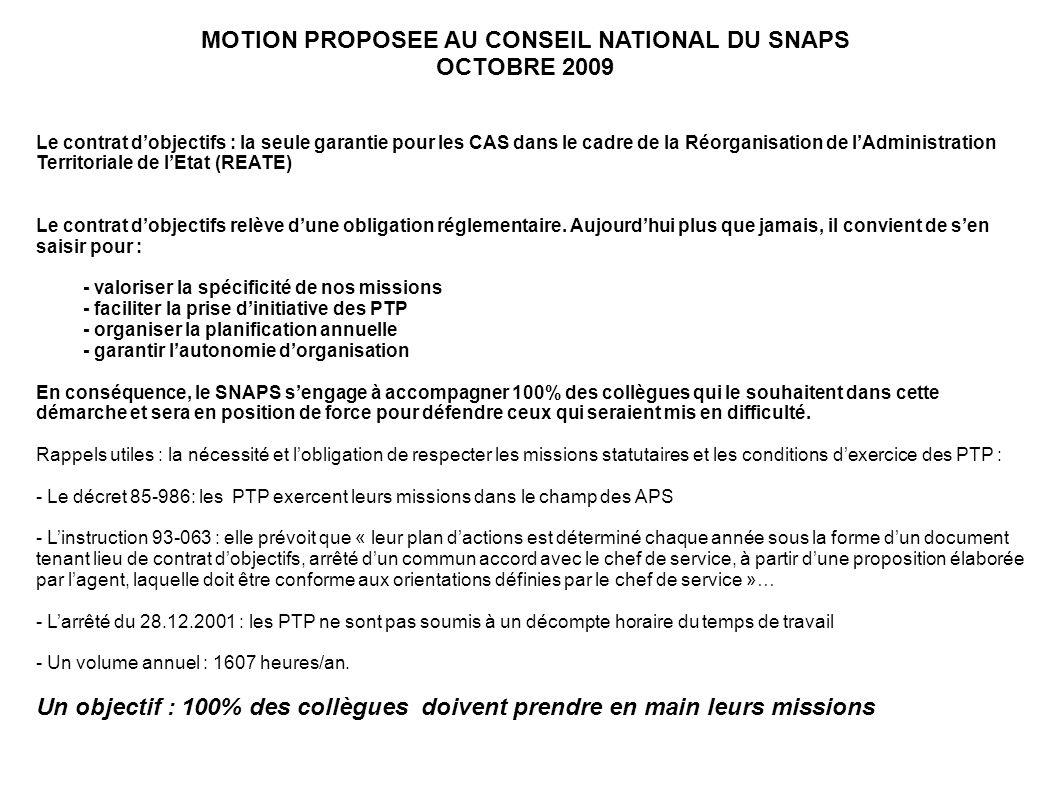 Le contrat dobjectifs : la seule garantie pour les CAS dans le cadre de la Réorganisation de lAdministration Territoriale de lEtat (REATE) Le contrat
