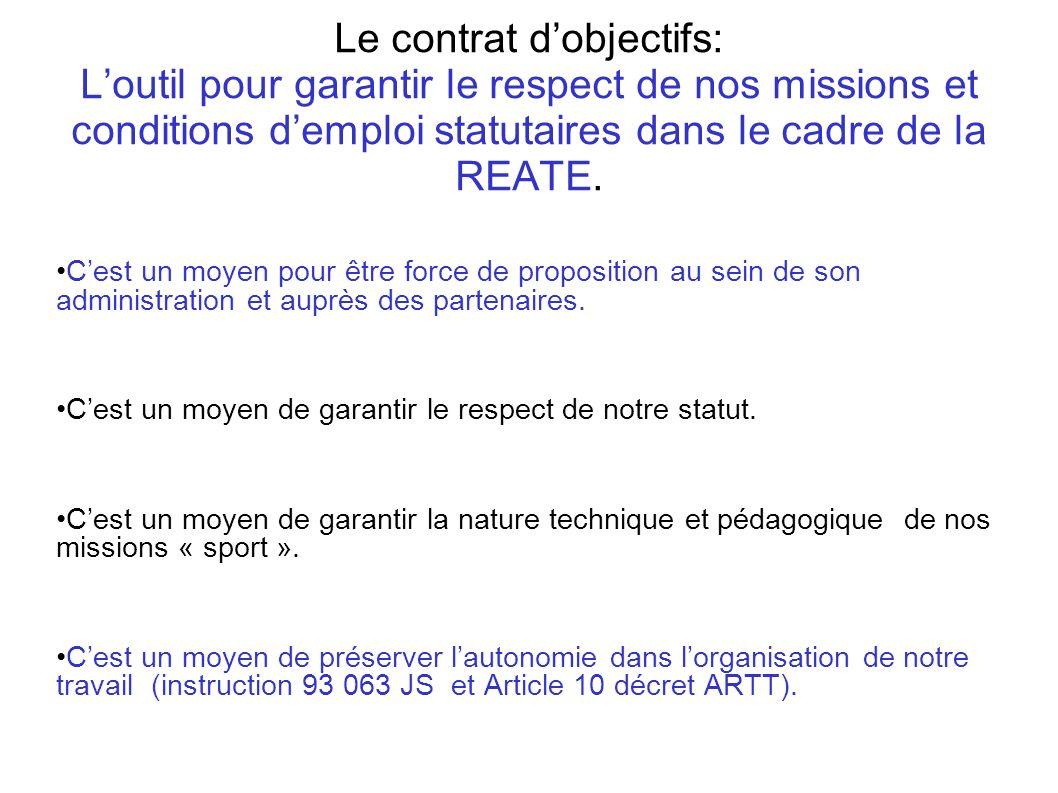 Le contrat dobjectifs: Loutil pour garantir le respect de nos missions et conditions demploi statutaires dans le cadre de la REATE. Cest un moyen pour