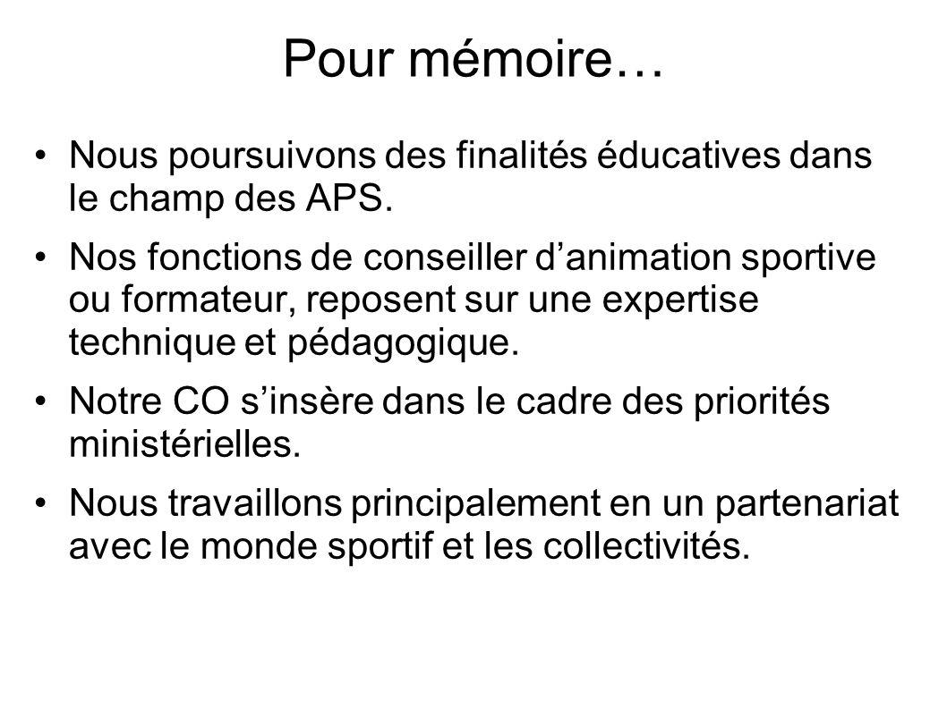 Pour mémoire… Nous poursuivons des finalités éducatives dans le champ des APS. Nos fonctions de conseiller danimation sportive ou formateur, reposent