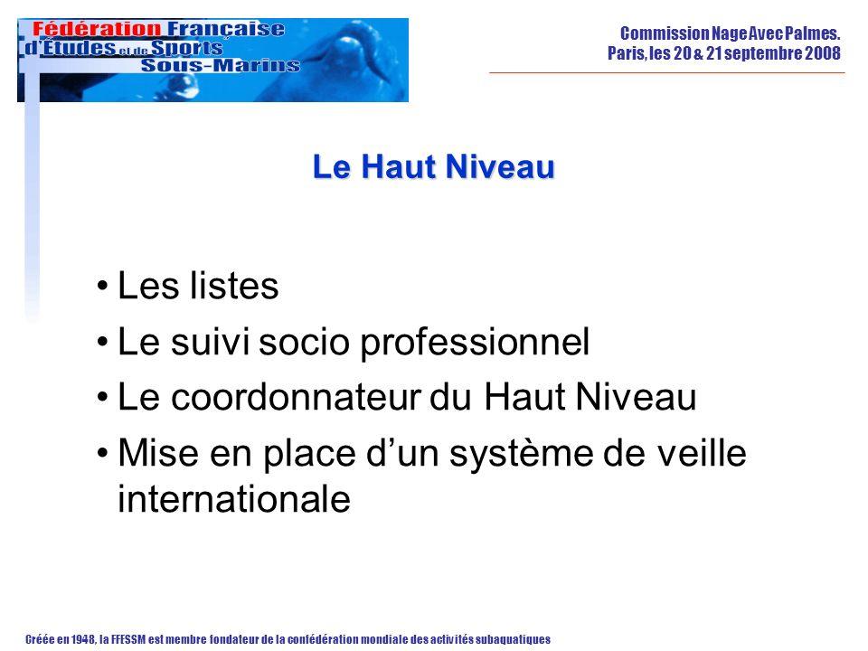 Commission Nage Avec Palmes. Paris, les 20 & 21 septembre 2008 Créée en 1948, la FFESSM est membre fondateur de la confédération mondiale des activité
