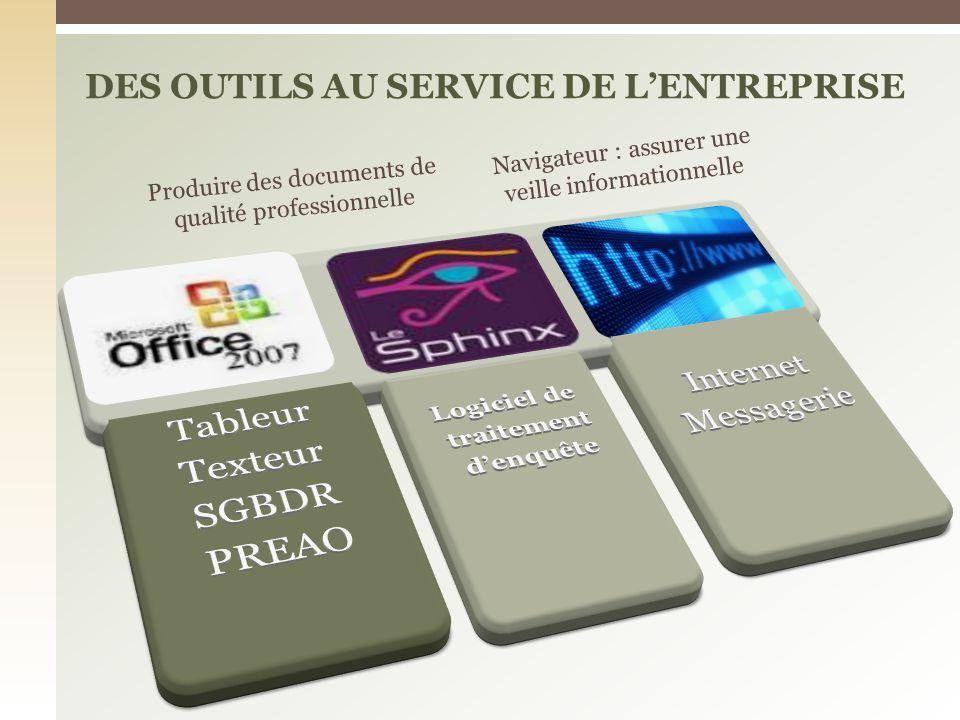 DES OUTILS AU SERVICE DE LENTREPRISE Produire des documents de qualité professionnelle Navigateur : assurer une veille informationnelle