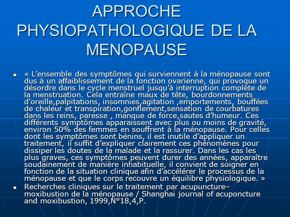 APPROCHE PHYSIOPATHOLOGIQUE DE LA MENOPAUSE « Lensemble des symptômes qui surviennent à la ménopause sont dus à un affaiblissement de la fonction ovarienne, qui provoque un désordre dans le cycle menstruel jusquà interruption complète de la menstruation.