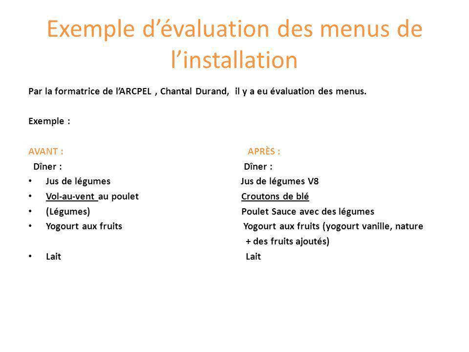 Exemple dévaluation des menus de linstallation Par la formatrice de lARCPEL, Chantal Durand, il y a eu évaluation des menus. Exemple : AVANT : APRÈS :