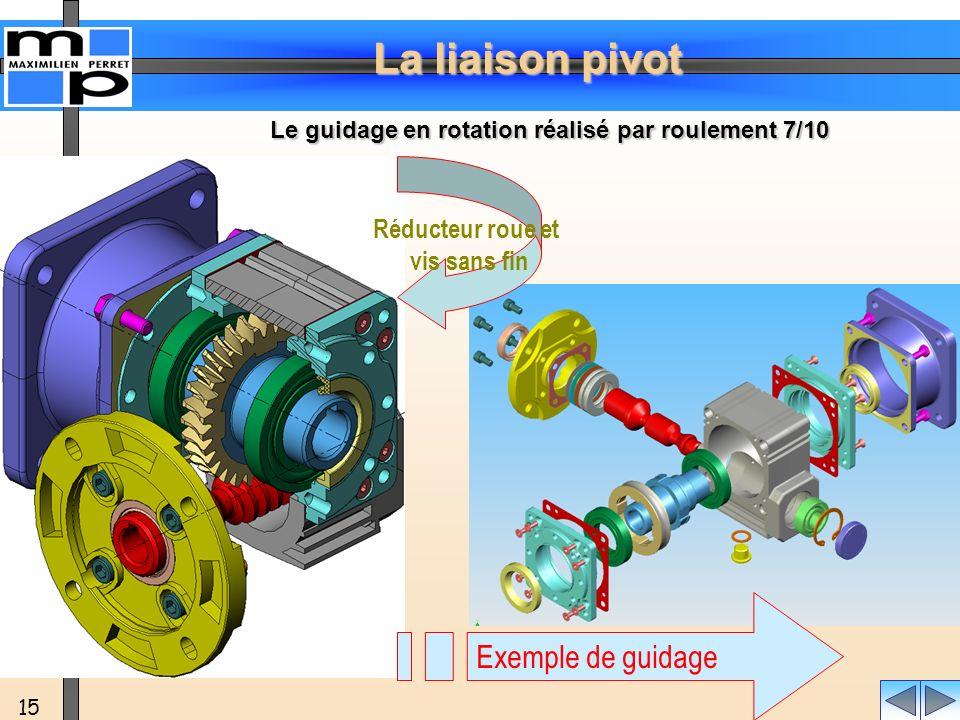 La liaison pivot 15 Réducteur roue et vis sans fin Exemple de guidage Le guidage en rotation réalisé par roulement 7/10