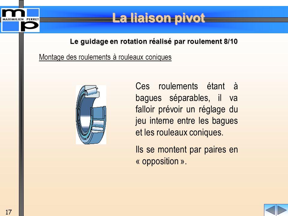 La liaison pivot 17 Montage des roulements à rouleaux coniques Ces roulements étant à bagues séparables, il va falloir prévoir un réglage du jeu inter