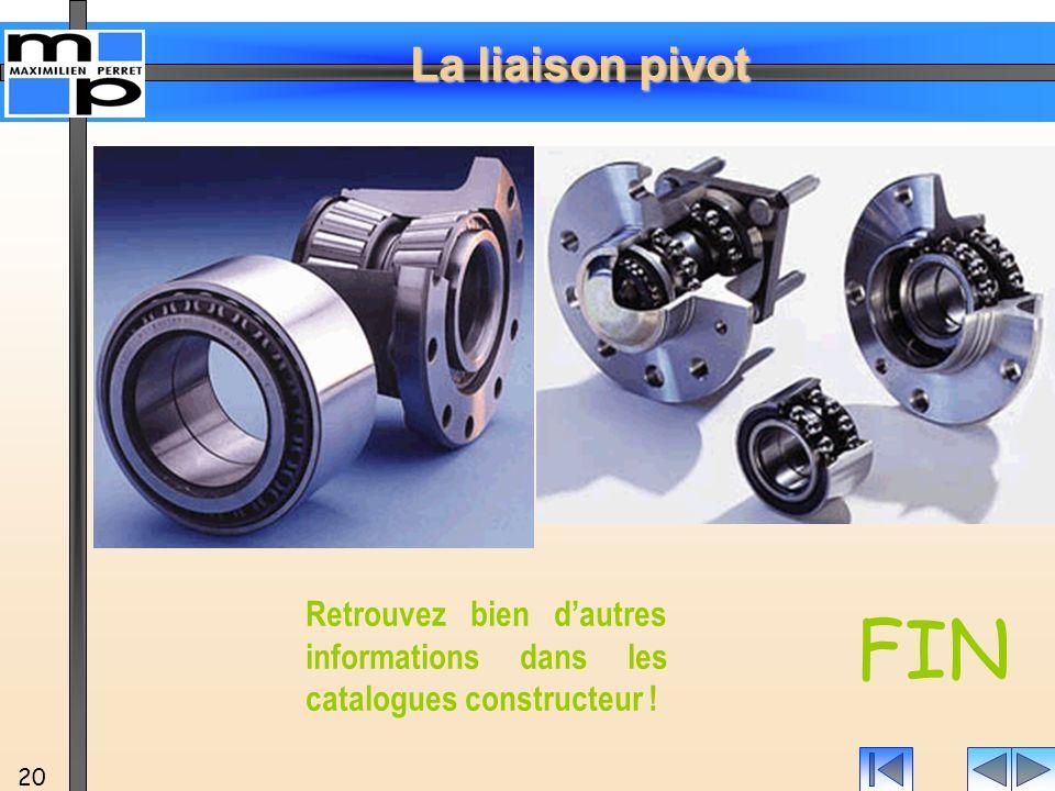 La liaison pivot 20 FIN Retrouvez bien dautres informations dans les catalogues constructeur !