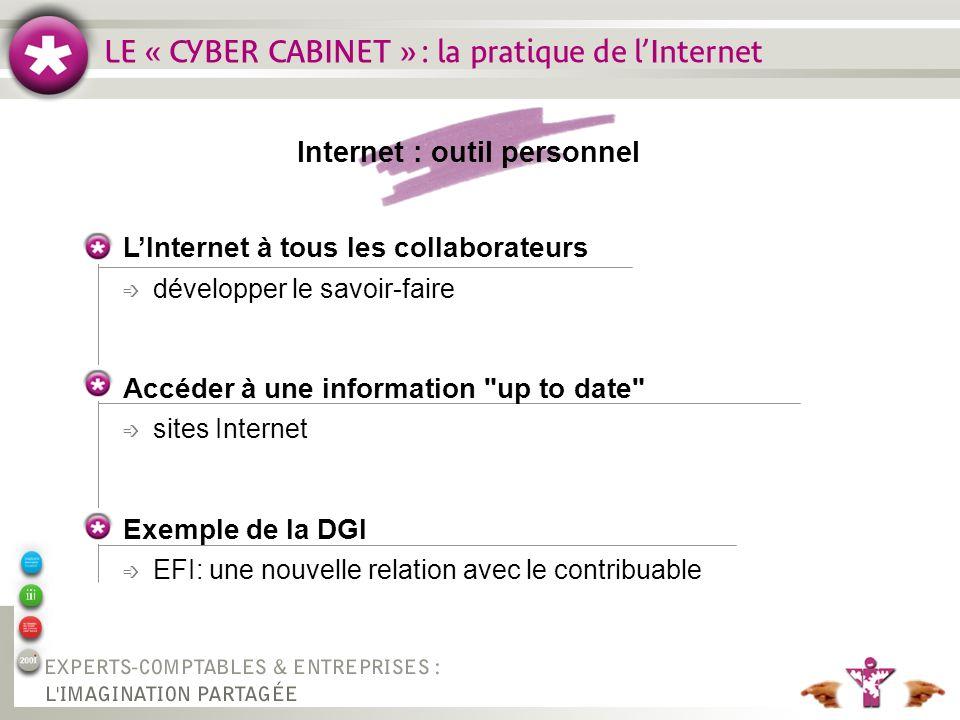 LE « CYBER CABINET » : la pratique de lInternet Internet : outil personnel LInternet à tous les collaborateurs é développer le savoir-faire Accéder à une information up to date é sites Internet Exemple de la DGI é EFI: une nouvelle relation avec le contribuable
