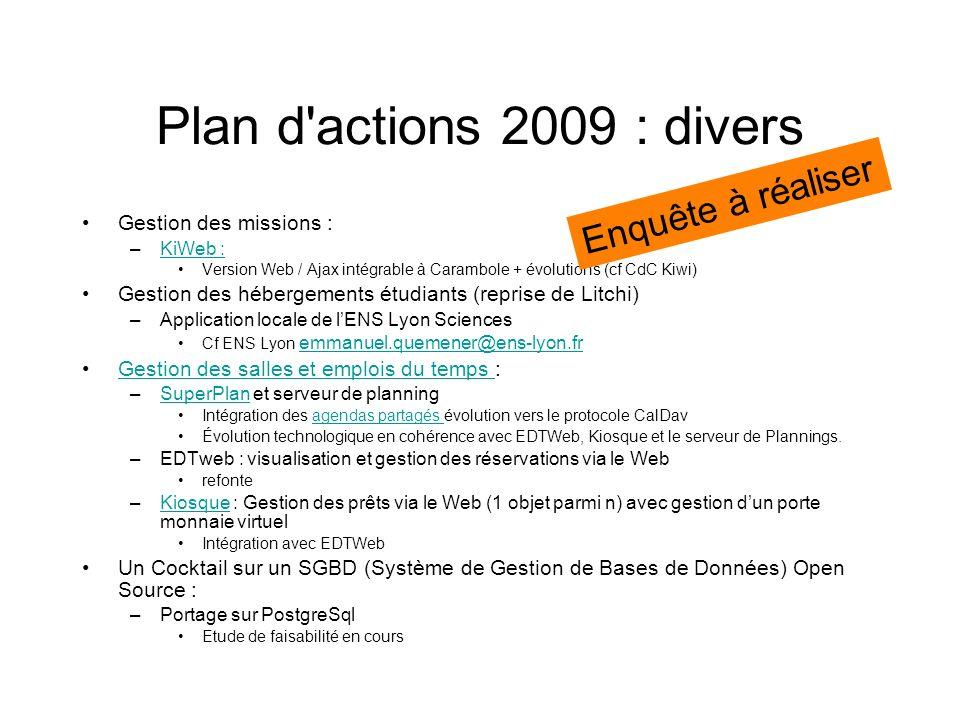 Plan d'actions 2009 : divers Gestion des missions : –KiWeb :KiWeb : Version Web / Ajax intégrable à Carambole + évolutions (cf CdC Kiwi) Gestion des h
