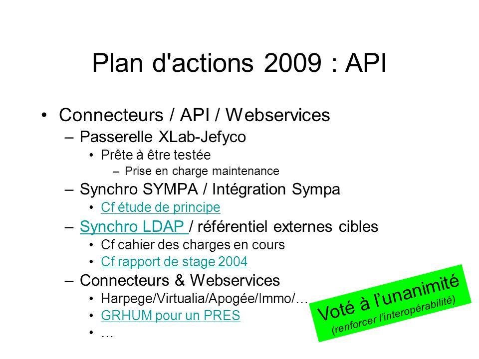 Plan d'actions 2009 : API Connecteurs / API / Webservices –Passerelle XLab-Jefyco Prête à être testée –Prise en charge maintenance –Synchro SYMPA / In