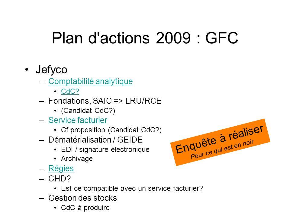 Plan d'actions 2009 : GFC Jefyco –Comptabilité analytiqueComptabilité analytique CdC? –Fondations, SAIC => LRU/RCE (Candidat CdC?) –Service facturierS