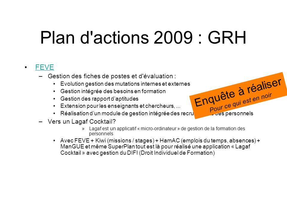 Plan d'actions 2009 : GRH FEVE –Gestion des fiches de postes et d'évaluation : Evolution gestion des mutations internes et externes Gestion intégrée d