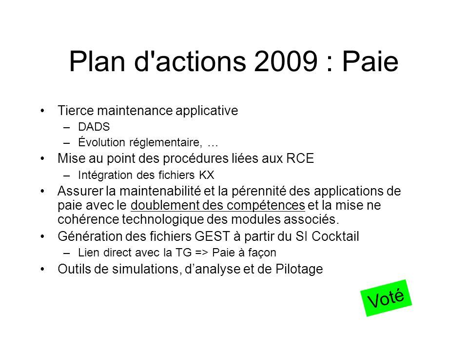 Plan d'actions 2009 : Paie Tierce maintenance applicative –DADS –Évolution réglementaire, … Mise au point des procédures liées aux RCE –Intégration de