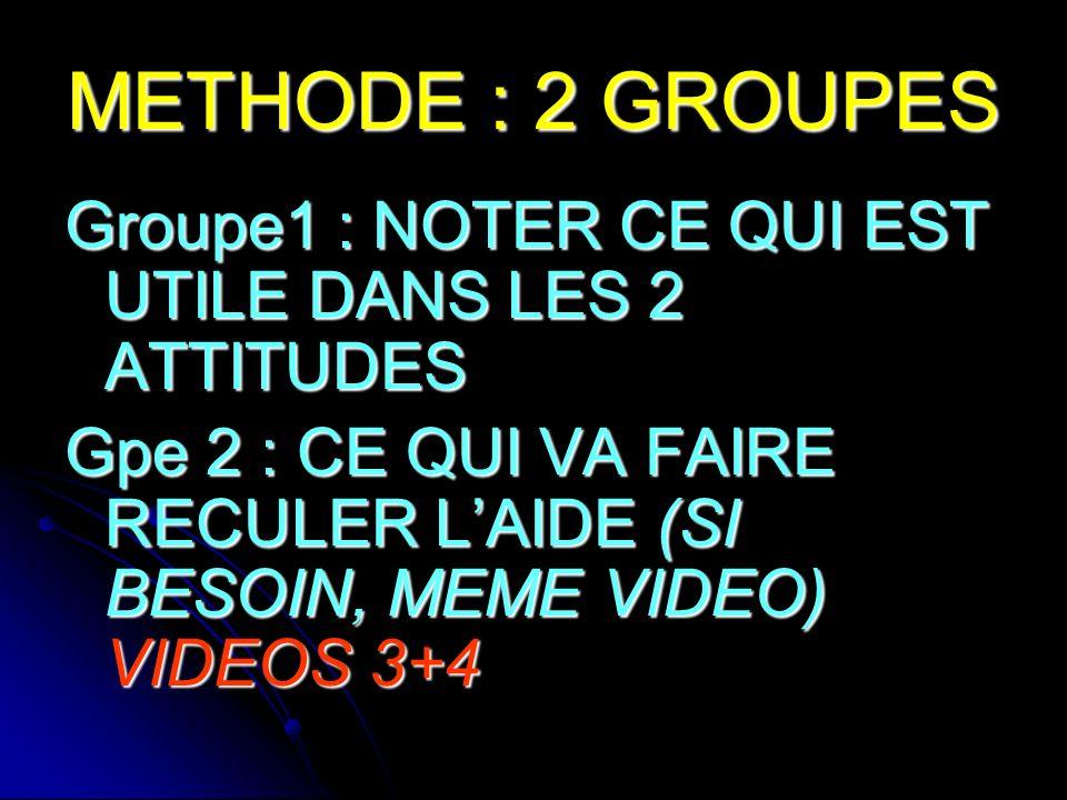 METHODE : 2 GROUPES Groupe1 : NOTER CE QUI EST UTILE DANS LES 2 ATTITUDES Gpe 2 : CE QUI VA FAIRE RECULER LAIDE (SI BESOIN, MEME VIDEO) VIDEOS 3+4