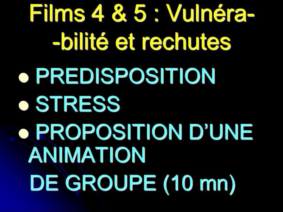 Films 4 & 5 : Vulnéra- -bilité et rechutes PREDISPOSITION PREDISPOSITION STRESS STRESS PROPOSITION DUNE ANIMATION PROPOSITION DUNE ANIMATION DE GROUPE (10 mn) DE GROUPE (10 mn)