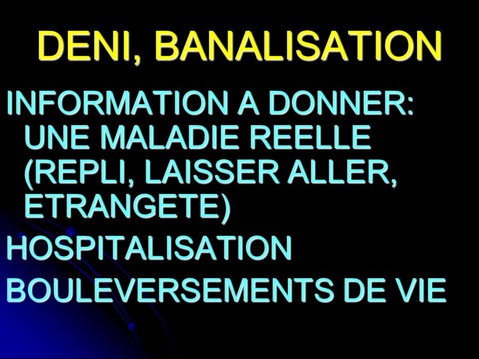 DENI, BANALISATION INFORMATION A DONNER: UNE MALADIE REELLE (REPLI, LAISSER ALLER, ETRANGETE) HOSPITALISATION BOULEVERSEMENTS DE VIE