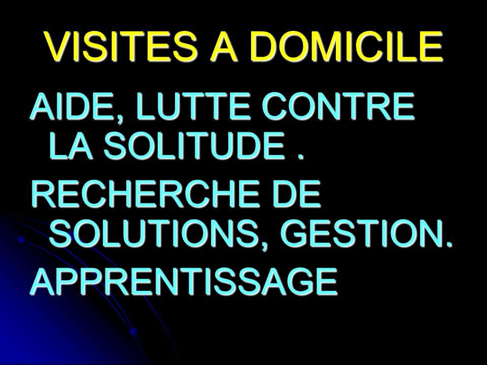 VISITES A DOMICILE AIDE, LUTTE CONTRE LA SOLITUDE. RECHERCHE DE SOLUTIONS, GESTION. APPRENTISSAGE