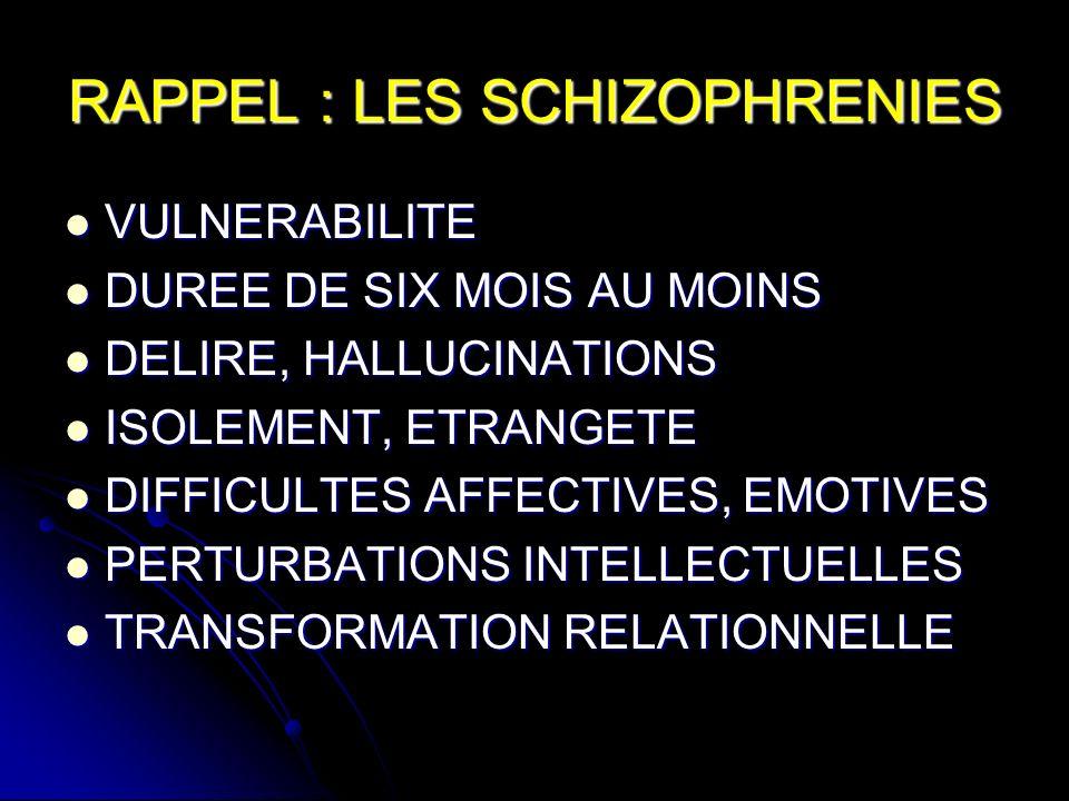 RAPPEL : LES SCHIZOPHRENIES VULNERABILITE VULNERABILITE DUREE DE SIX MOIS AU MOINS DUREE DE SIX MOIS AU MOINS DELIRE, HALLUCINATIONS DELIRE, HALLUCINATIONS ISOLEMENT, ETRANGETE ISOLEMENT, ETRANGETE DIFFICULTES AFFECTIVES, EMOTIVES DIFFICULTES AFFECTIVES, EMOTIVES PERTURBATIONS INTELLECTUELLES PERTURBATIONS INTELLECTUELLES TRANSFORMATION RELATIONNELLE TRANSFORMATION RELATIONNELLE