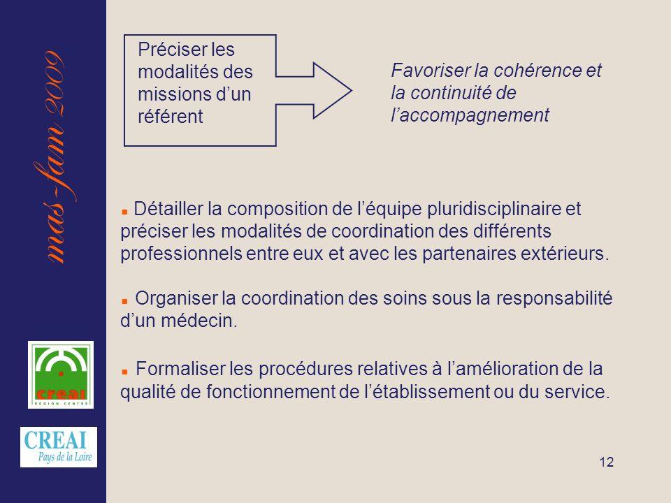 mas-fam 2009 12 Favoriser la cohérence et la continuité de laccompagnement Préciser les modalités des missions dun référent Détailler la composition d