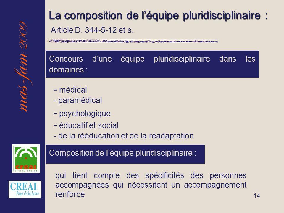 mas-fam 2009 14 La composition de léquipe pluridisciplinaire : Concours dune équipe pluridisciplinaire dans les domaines : - éducatif et social - médi
