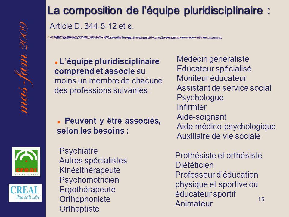 mas-fam 2009 15 La composition de léquipe pluridisciplinaire : Léquipe pluridisciplinaire comprend et associe au moins un membre de chacune des profes