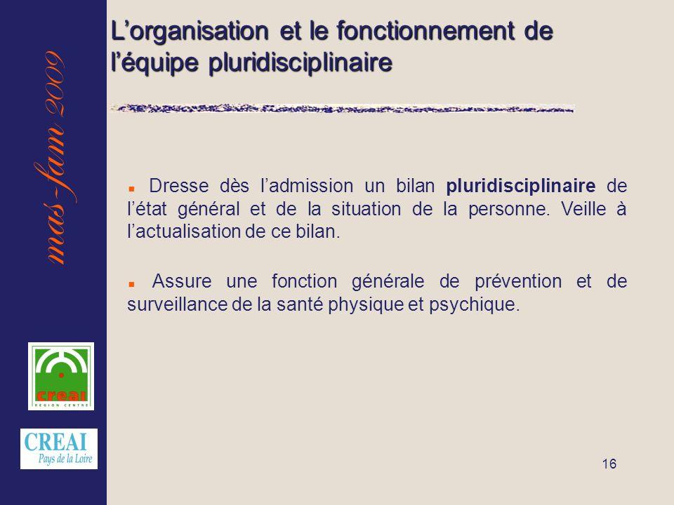 mas-fam 2009 16 Lorganisation et le fonctionnement de léquipe pluridisciplinaire Dresse dès ladmission un bilan pluridisciplinaire de létat général et