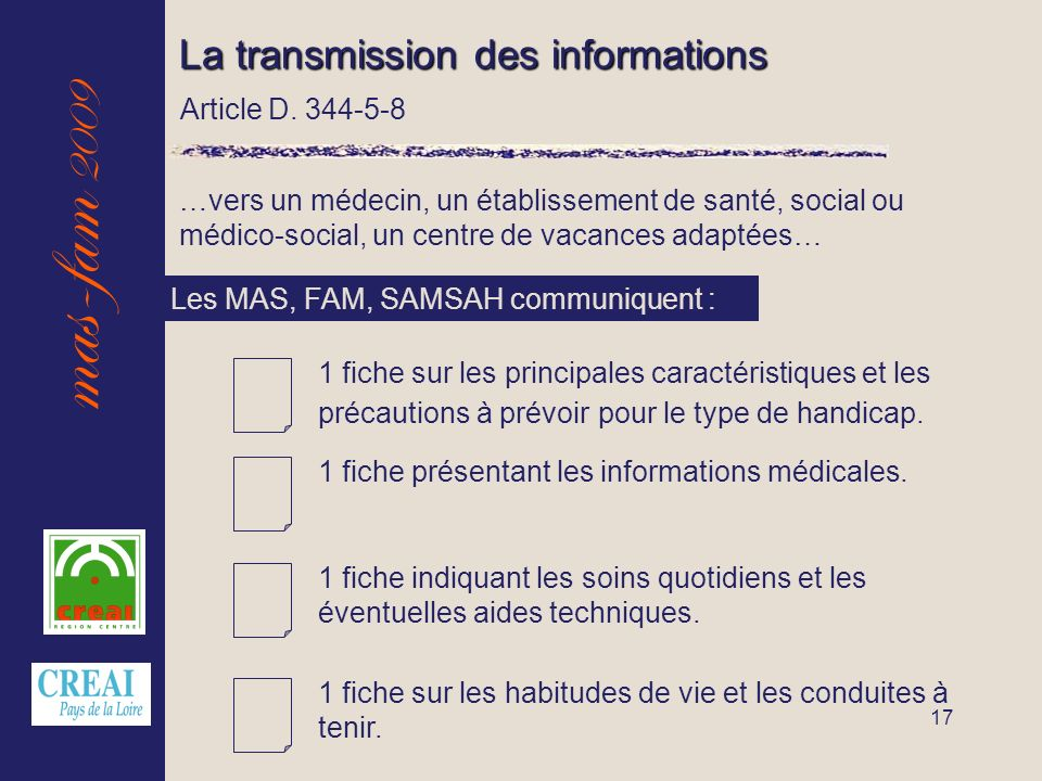 mas-fam 2009 17 La transmission des informations Article D.