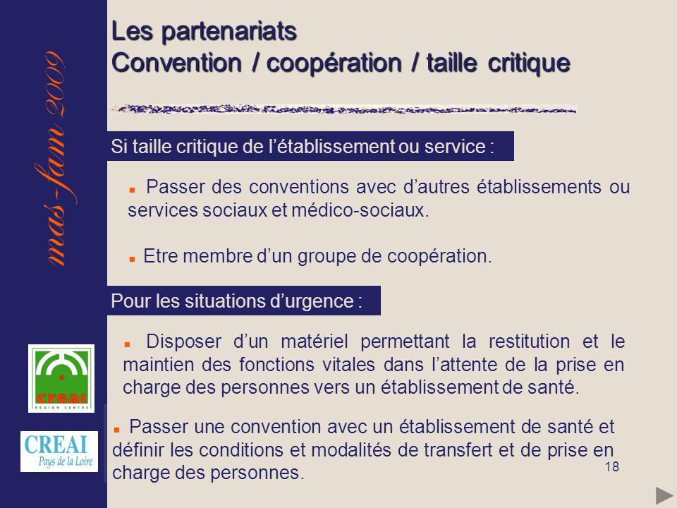 mas-fam 2009 18 Les partenariats Convention / coopération / taille critique Passer des conventions avec dautres établissements ou services sociaux et
