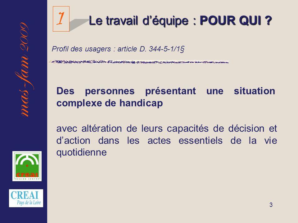 mas-fam 2009 3 Le travail déquipe : POUR QUI ? Des personnes présentant une situation complexe de handicap avec altération de leurs capacités de décis