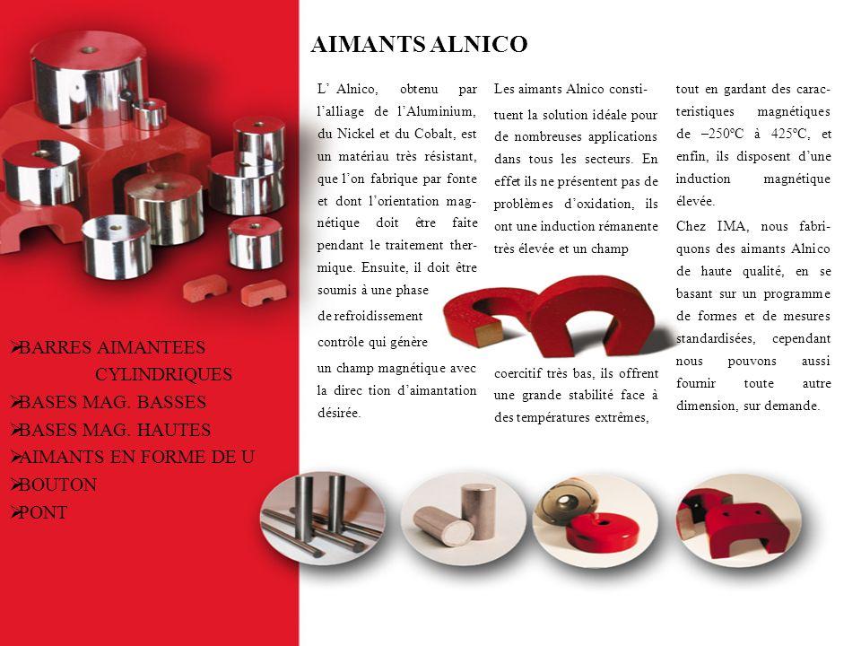 AIMANTS ALNICO L Alnico, obtenu par lalliage de lAluminium, du Nickel et du Cobalt, est un matériau très résistant, que lon fabrique par fonte et dont