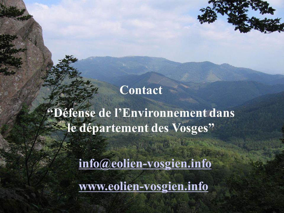 Contact Défense de lEnvironnement dans le département des Vosges info@eolien-vosgien.info www.eolien-vosgien.info