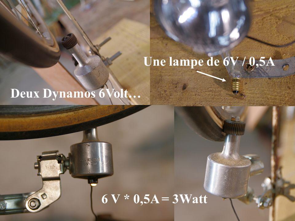 Deux Dynamos 6Volt… 6 V * 0,5A = 3Watt Une lampe de 6V / 0,5A
